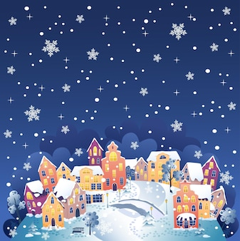 Winterstad bij nacht vectorillustratie