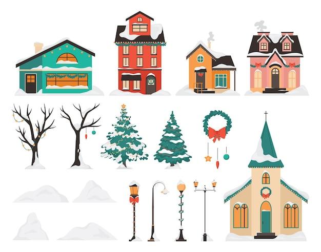 Winterstad ingesteld. mooie huizen en kerk met sneeuw op het dak.