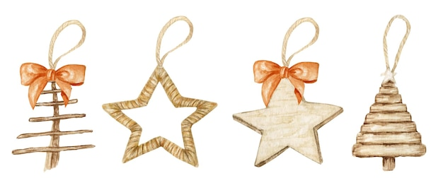 Winterster houten kerstdecoratie met strik.