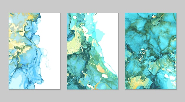 Wintertaling en gouden marmeren abstracte texturen