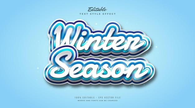 Wintertekststijl in wit en blauw met vorsteffect. bewerkbaar tekststijleffect