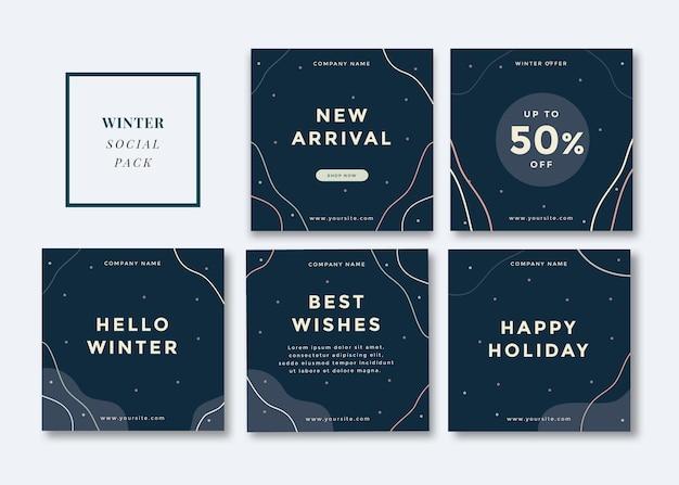 Winterthema sociale mediasjabloon voor instagram, facebook, carrousel.