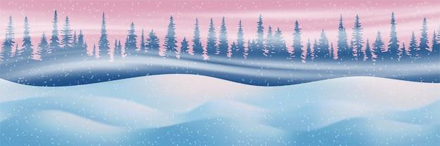 Winterthema, zonsonderganglicht, sneeuwbanken, bos en sneeuwstorm