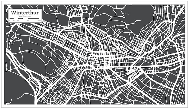 Winterthur zwitserland stadsplattegrond in retro stijl. overzicht kaart. vectorillustratie.