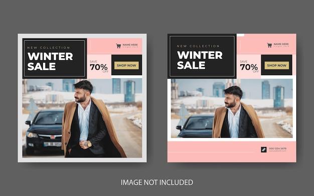 Winteruitverkoop social media banner en instagram postsjabloon premium vector