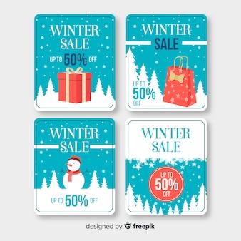 Winteruitverkoop vierkante etiketten