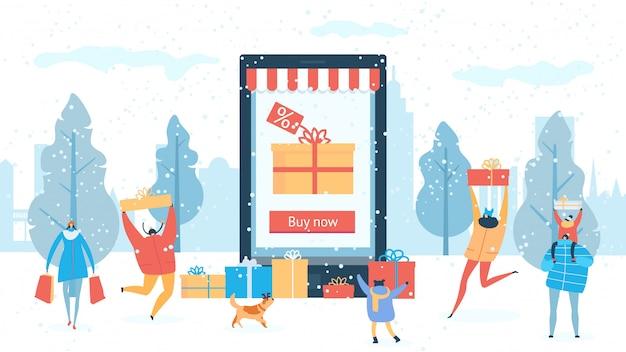 Winteruitverkoop winkelen online korting voor mensen die geschenken kopen