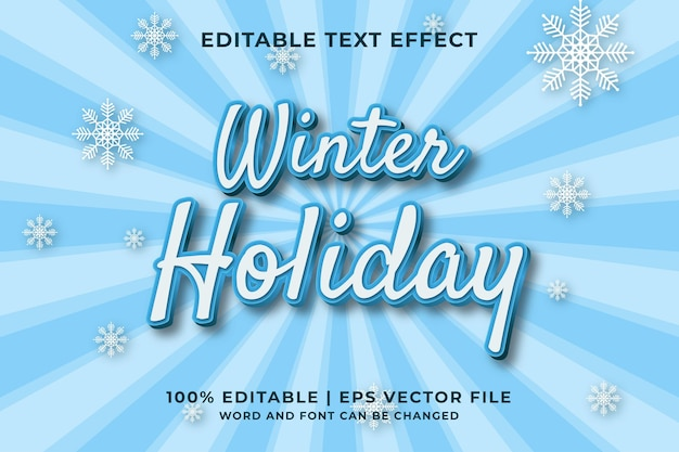 Wintervakantie 3d bewerkbaar teksteffect premium vector
