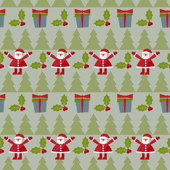 Wintervakantie achtergrond met leuke grappige cartoon santa claus little rabbit fir moon en stars
