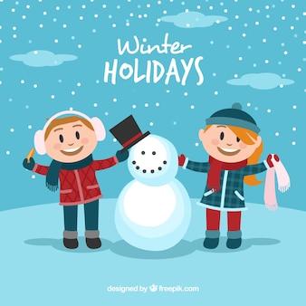 Wintervakantie achtergrond met twee kinderen en een sneeuwpop