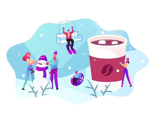 Wintervakantie activiteit en buiten vrije tijd concept. mannelijke en vrouwelijke personages die buiten spelen, sneeuwpop maken, warme dranken drinken, skiën, naar beneden glijden. cartoon mensen vectorillustratie