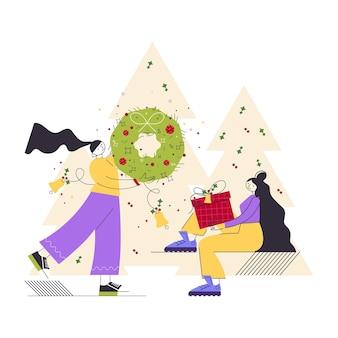 Wintervakantie concept gelukkige vrouwelijke personages met feestelijke kerstkrans en geschenken of cadeautjes