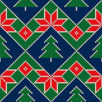 Wintervakantie gebreide trui patroon ontwerp met kerstbomen en kerststerren ornament