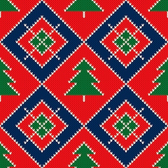 Wintervakantie gebreide trui patroon ontwerp met kerstbomen ornament
