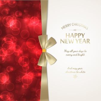 Wintervakantie groet poster met feestelijke gouden tekst en lint strik op rode gloeiende onscherpe achtergrond vectorillustratie