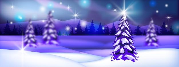 Wintervakantie kerstlandschap met sneeuw, bomen silhouetten, bergen, nachtelijke hemel