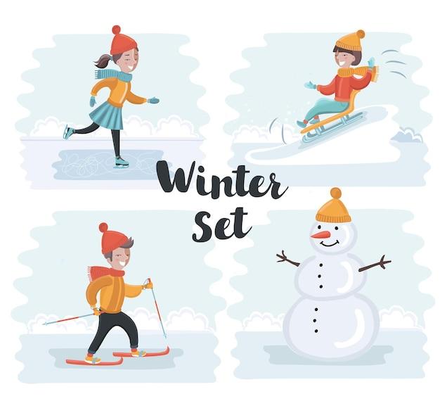 Wintervakantie meisje beeldhouwt sneeuwpop schaatsen skiën sleeën aankleden kerstboom jongen re...