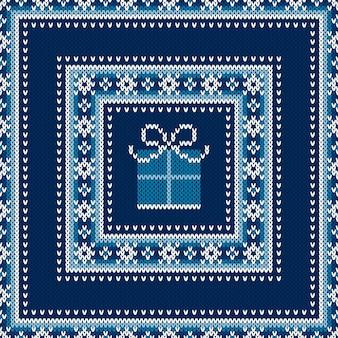 Wintervakantie naadloos gebreide trui patroon ontwerp met een geschenkdoos wol gebreide textuur imitatie