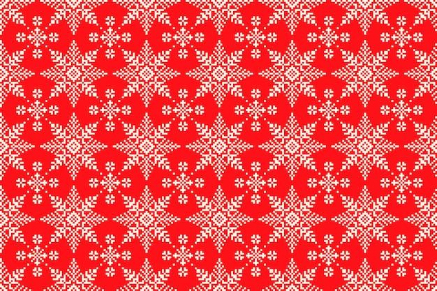 Wintervakantie pixelpatroon met naadloos sneeuwvlokkenornament