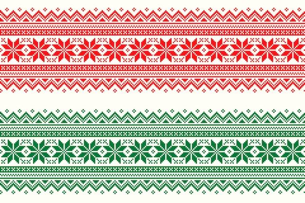 Wintervakantie pixelpatroon met traditioneel kerststerornament