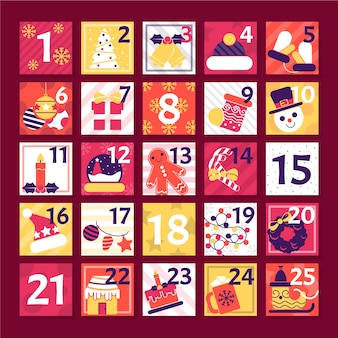 Wintervakantie poster kalender plat ontwerp