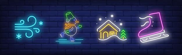 Wintervakantie symbolen in neonstijl met schaatsen