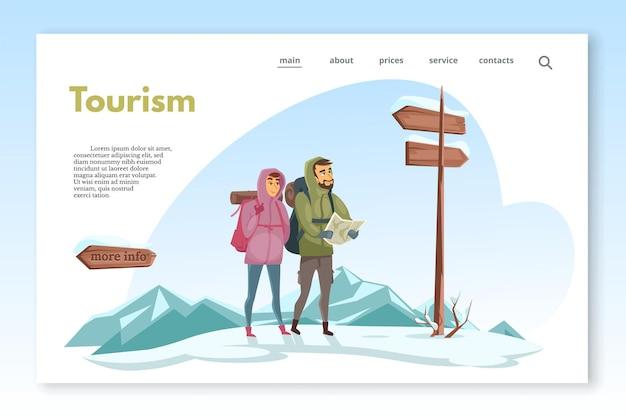 Wintervakantie vakantie site paginasjabloon toeristen kijken naar kaart in vergelijking met houten verkeersborden