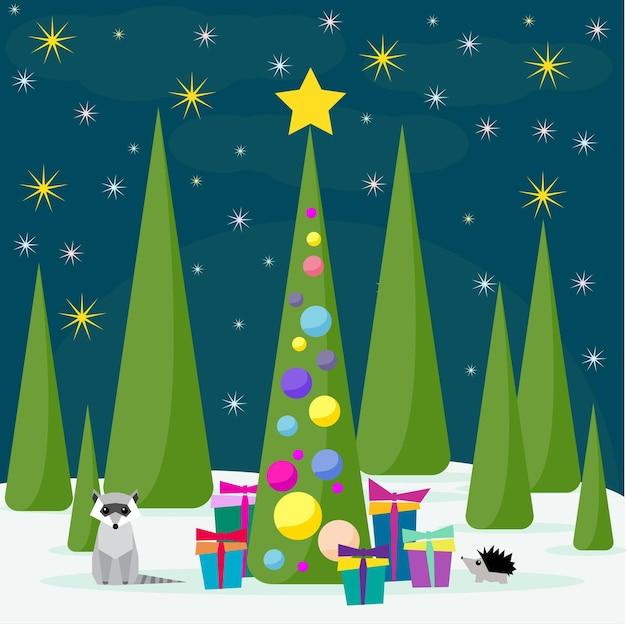 Wintervakantiekaart met spruse schattige wasbeer en veel felgekleurde geschenken in het nachtbos