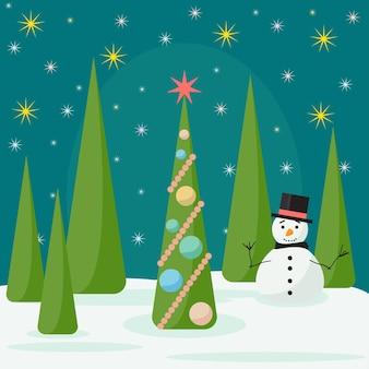 Wintervakantiekaartachtergrond met spruse en veel felgekleurde geschenken in het nachtbos