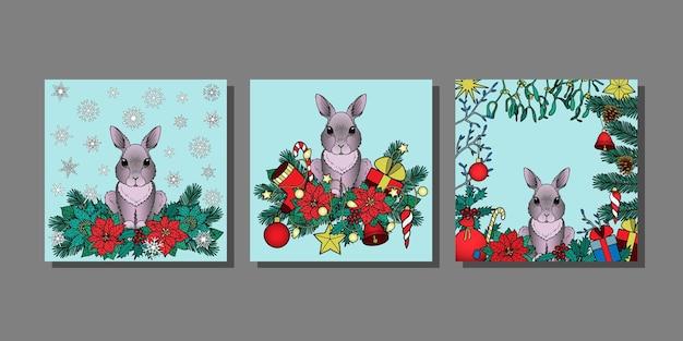 Wintervakantieprints met konijnenkerst- of nieuwjaarspatronen voor mock-ups voor wenskaarten