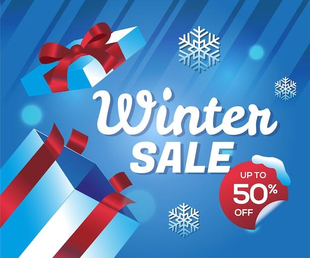 Winterverkoop speciale aanbieding met geschenkdoos achtergrond