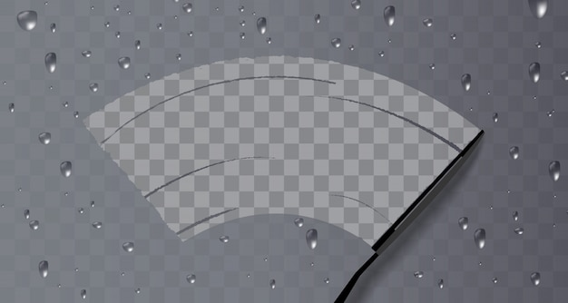 Wiper reinigt het glas. regen en sneeuw op transparante achtergrond.
