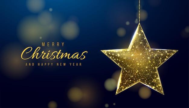 Wireframe kerst gouden bal, laag poly stijl. banner voor het concept van kerstmis of nieuwjaar. abstracte moderne 3d vectorillustratie op blauwe achtergrond.