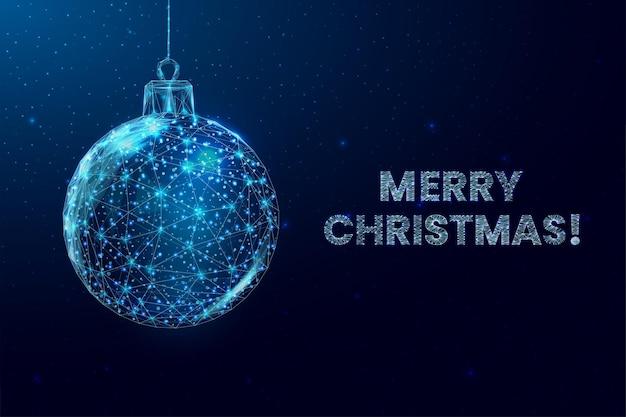 Wireframe kerstballen en ster, laag poly stijl. vrolijk kerstfeest en nieuwjaarsbanner. abstracte moderne 3d vectorillustratie op blauwe achtergrond.