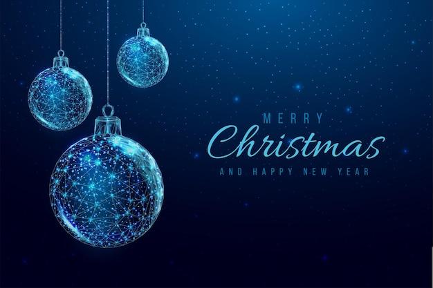 Wireframe kerstballen en ster, laag poly stijl.