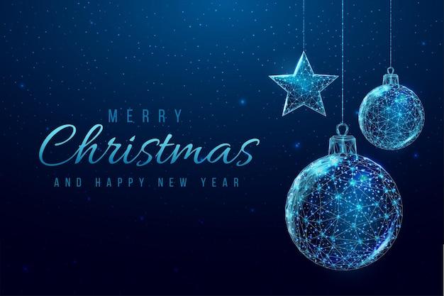 Wireframe kerstballen en sterbanner