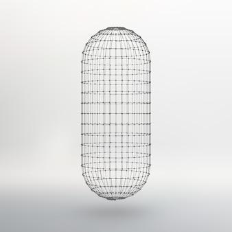 Wireframe mesh veelhoekige capsule. de capsule van de lijnen verbonden stippen. atoom rooster. rijden constructieve oplossing tank. vectorillustratie eps10.