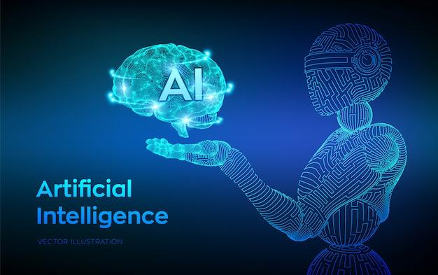 Wireframe robot. ai kunstmatige intelligentie in de vorm van cyborg of bot. hersenen in robotachtige hand. digitale hersenen.