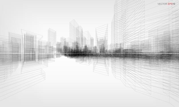Wireframe stad achtergrond. perspectief 3d render van het bouwen van draadframe. vector illustratie.