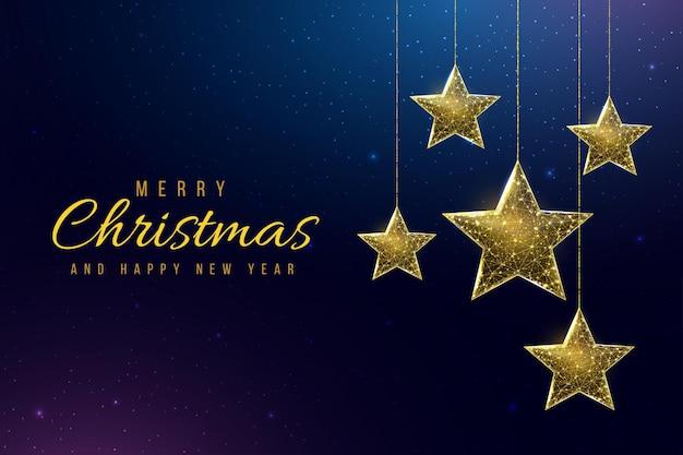 Wireframe sterren, laag poly stijl. banner voor het concept van kerstmis of nieuwjaar. abstracte moderne 3d vectorillustratie op blauwe achtergrond.