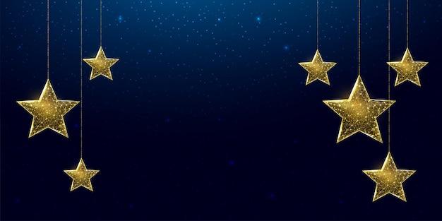Wireframe sterren, laag poly stijl. banner voor het concept van kerstmis of nieuwjaar met een plek voor een inscriptie. abstracte moderne 3d vectorillustratie op blauwe achtergrond.