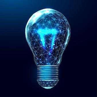 Wireframe veelhoekige gloeilamp. internettechnologienetwerk, bedrijfsideeconcept met gloeiende laag polylamp. futuristische moderne samenvatting. geïsoleerd op donkerblauwe achtergrond. vector illustratie.