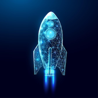 Wireframe veelhoekige raket. internettechnologienetwerk, bedrijfsopstartconcept met gloeiende laag polyraket. futuristische moderne samenvatting. geïsoleerd op donkerblauwe achtergrond. vector illustratie.
