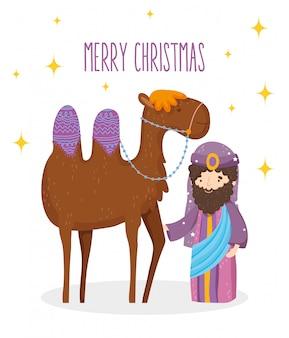 Wise koning en kameel kribbe geboorte, vrolijk kerstfeest