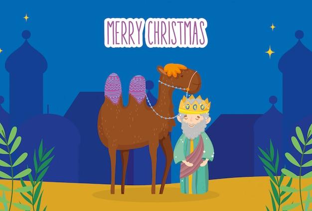 Wise koning en kameel nacht dorp kribbe geboorte, vrolijk kerstfeest