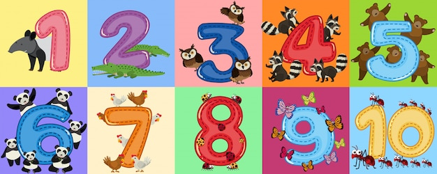 Wiskunde count number animal theme