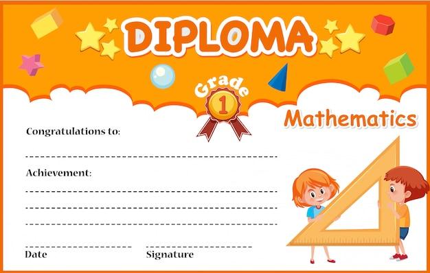 Wiskunde diploma certificaatsjabloon