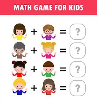 Wiskunde educatief spel voor kinderen leren tellen, aanvullend werkblad voor kinderen. wiskunde optellen aftrekken puzzel kinderen die cijfers tonen met vingers trucvraag los vlakke illustratie op