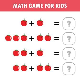 Wiskunde educatief spel voor kinderen leren tellen optellen werkblad voor kinderen