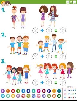Wiskunde onderwijstaak met kinderen